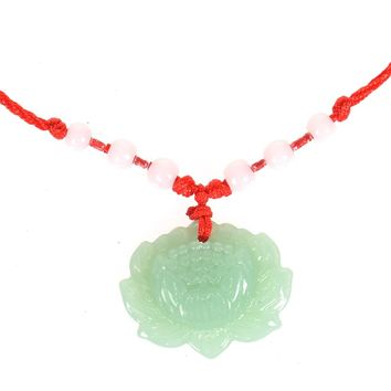 Natural Green Hetian Snow Lotus Pendant Fashion Flower Necklace For Women Jewelry Free Rope Fine Chinese style