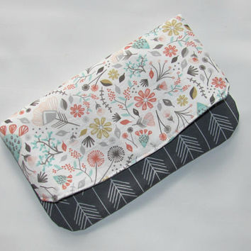 Fold over Clutch, Clutch Purse, Envelope Clutch, Womens Wallet, Fabric Foldover Clutch, Birthday Gift Idea, Handbag Blooming