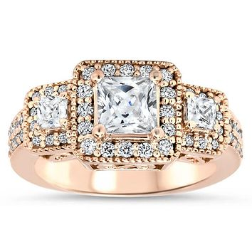 Vintage Style Engagement Ring 3-Stone Halo Moissanite and Diamond Engagement Ring - Honey
