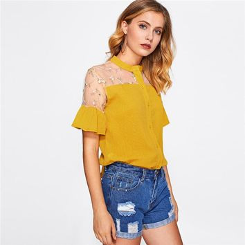 Embroidery Mesh Shirt Floral Cute Frill Cuff Blouse Yellow Women Semi Sheer Summer Tops Patchwork Button Up Blouse