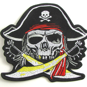"Pirate Embroidered Iron-On 3.5"" x 4"""