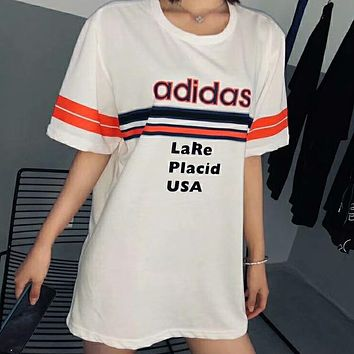 Adidas Summer fashion new bust stripe letter print and back olympic rings 1932 couple loose leisure short sleeve t-shirt top White