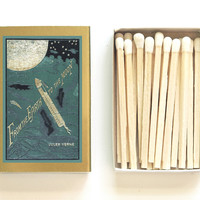 From the Earth to the Moon Matchbox - Jules Verne Vintage Illustration - Wedding Matches - Pair with a Candle - Light an Adventurous Spark