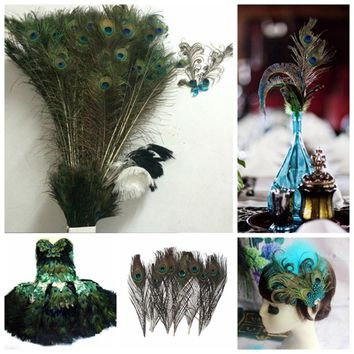 10pcs Natural Real Peacock Feather House Decoration