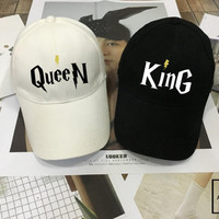 KING Queen Set, Wedding Hat for couples , Couples Hats, Honeymoon, King Queen snapback , King hat Queen hat Low-Profile Baseball Hat