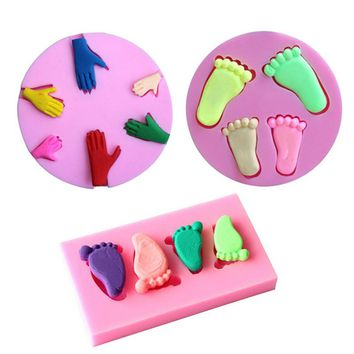 Baby Footprint Palm Shape 3D Silicone Mold Fondant Chocolate Cake Mold Decoration Molds Baking Tool Bakeware Kitchen Accessories