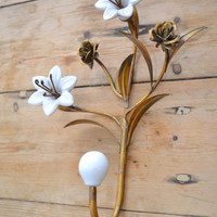 Metal Ceramic Flower Hook in White and Gold - $17 - The Bella Cottage