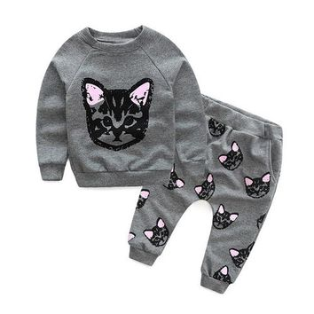 Girls 2pc outfit with Kitty Cats- ships free