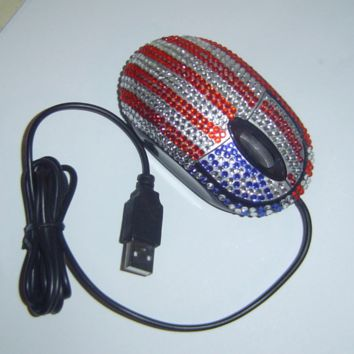 Red White Blue Flag Crystals USB Optical Computer Mouse New