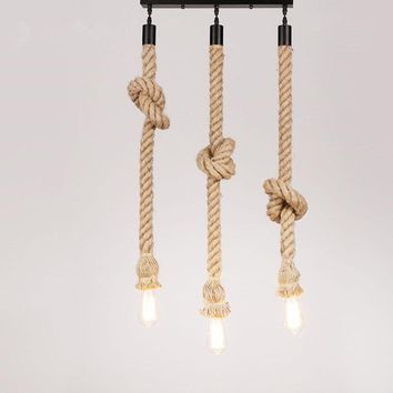 Creative Hemp Rope chandelier Lights Vintage Loft Creative Personality Industrial Lamp Edison Bulb American Style chandeliers