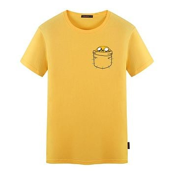 Adventure Time Adult Print T-shirt Jake In Pocket T Shirts Men Women Cartoon Fashion Funny Summer T Shirt  Top Tees