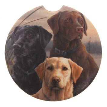 Hunting Dogs Stone Car Coasters Set 3 CounterArt Absorbent