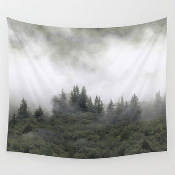 Pine trees in mist. Scotland. Wall Tapestry by anipani