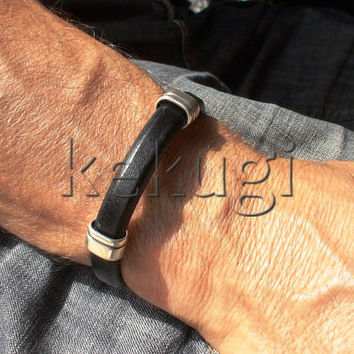 black 10mm licorice regaliz  men leather  bracelet with sterling silver coating findings