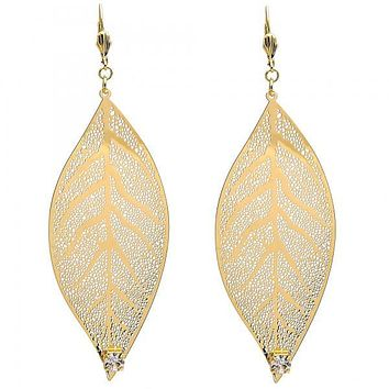 Gold Layered 065.001 Dangle Earring, Leaf and Filigree Design, with White Crystal, Polished Finish, Gold Tone