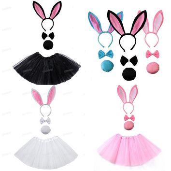 Cool New Girl Bunny Ear Headband Set Black pink white Tutu   Costume Hen Party big Rabbit ear hairbands Cosplay  Halloween ChristmasAT_93_12