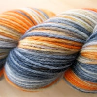 "Sock Yarn ""Flame"" - Hand Dyed Sock Yarn, Hand Dyed Yarn in charcoal grey, gray, orange - fingering weight, superwash yarn, 437 yards"