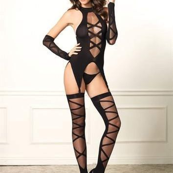 Leg Avenue Lace Up Cami Garter Stockings and Gloves Black