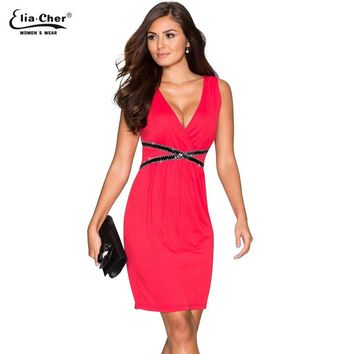 Red Casual Dresses  Women Plus Size  Fit and Flare Summer Dress Wear To Work V-Neck Party Dress