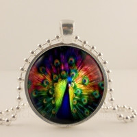 "Tie Dye Peacock bird, 1"" glass and metal Pendant necklace Jewelry."