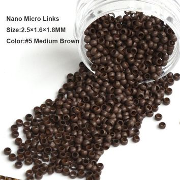 Nano Copper Micro Rings 2.5*1.6*1.8MM 1000Pcs/Bottle #8 Dark Blonde Dreadlock Beads Microlink Hair Extensions