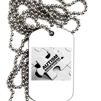 Autism Awareness - Puzzle Black & White Adult Dog Tag Chain Necklace by TooLoud
