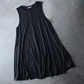 BSIC - sleeveless swingy tank dress - black