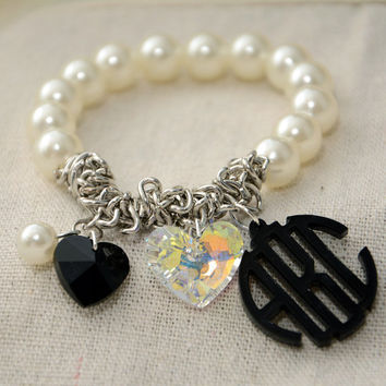 Personalized Gift - Handcrafted Monogram Bracelet with Pearls and Swarovski Heart - 1 inch Circle Personalized Monogram Acrylic Custom Made