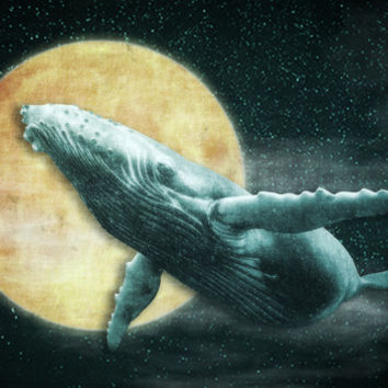 Fantasy Humpback Whale Flying to The Moon Art Print by Nirvana.K
