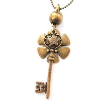 Classic Skeleton Key and Floral Pendant with Tiny Star Charm Necklace in Bronze | DOTOLY