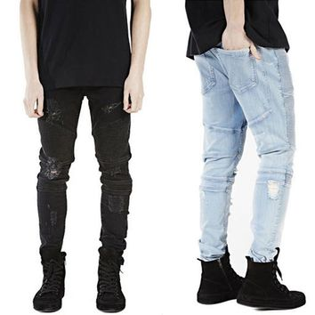 Mens Strech Ripped Biker Jeans Skinny Lt Blue Distressed Kanye West Designer Mens Hole Jeans