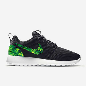 Custom Nike Roshe Run Shoes Weed Leafs Marijuana Fabric Pattern Men's Women's Birthday Present, Perfect Gift, Customized Nike Shoes