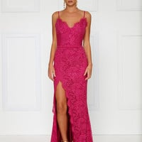 Layali Lace Gown- HOT PINK