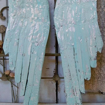 Large wooden wings sky blue white distressed wall decor carved wood metal sculpture Anita Spero