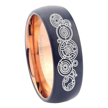 8mm Doctor Who Dome Tungsten Carbide Rose Gold Wedding Band Mens
