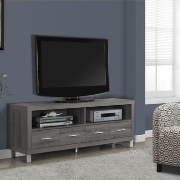 "Dark Taupe Reclaimed-Look 60""L Tv Console With 4 Drawers"