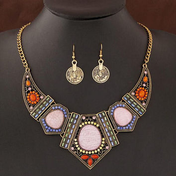 Jewery Sets Fashion Beads Stone Collares Necklace and Coin Earring Set for Women