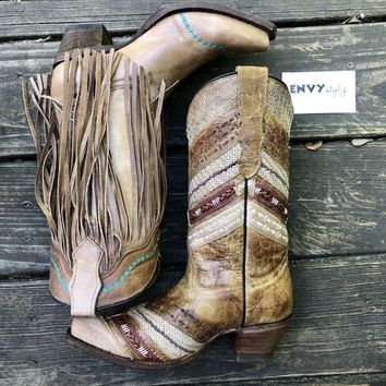 Corral Teen Tan Turquoise Fringe Boots