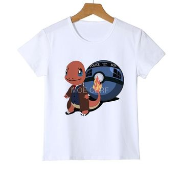 Children  Go Shirt Kids Small fire dragon  T shirt Girls Tops Blouse Boy Tee cartoon t-shirt Top clothing Z18-9Kawaii Pokemon go  AT_89_9