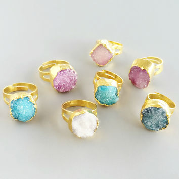 Gold Plated Druzy Rings - in 4 colors