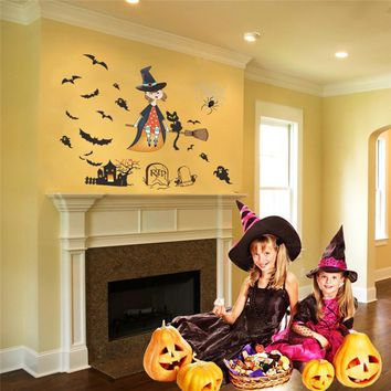 Flying Witch Broom Ghost Bat Halloween Wall Stickers