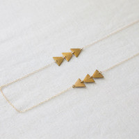 Airows - Delicate Raw Brass Triangle 14kt Gold Filled Necklace - Fun, Simple and Minimal Jewelry by Catabot