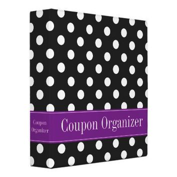 Purple and Black Polka Dot Coupon Organizer Binders from Zazzle.com