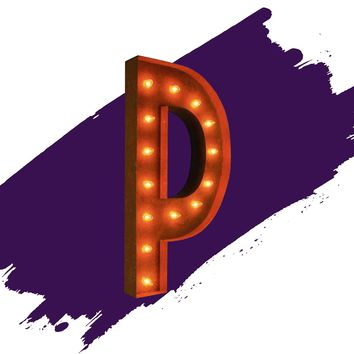 "36"" Letter P Lighted Vintage Marquee Letters (Rustic)"