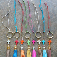 Stone cross and leather tassel charm zipper pull cute car accessory rear view mirror dangle key chain purse charm jewelry red blue green
