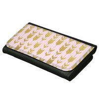 Pink Gold Tribal Arrows Leather Wallet