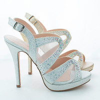 Marna24 Nude Sparkle By Blossom, Peep Toe Cut Out Mesh Sling back Stiletto Pumps