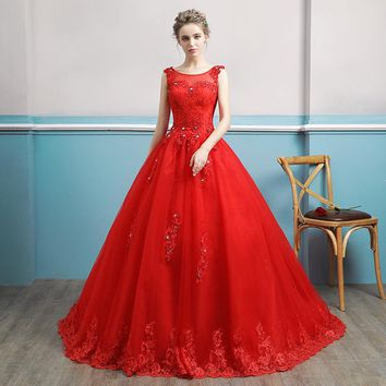 Red Wedding Dress Sleeveless Cut-out Bridal Festival A-Line Gown Luxury Embroidered Flower Crystal Royal Train