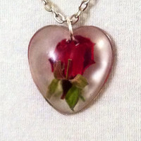 Real Red rose bud perfection. Rose bud in resin heart. Valentine's Day Gift, eco friendly, nature jewelry, botanical, romantic gift.