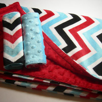 Red, Black and Blue Chevron Baby/Toddler Gift Set